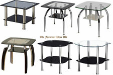 SIDE END LAMP TABLE SELECTION OF CONTEMPORARY BLACK CLEAR FROSTED GLASS CHROME
