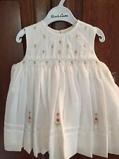 Sarah Louise Infant 6 mos Sleevless White dress w/pink embroidery/smocking-NWT