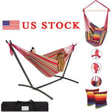Space Saving Steel Hammock Stand Outdoor Patio Portable Hanging Bed Swing Chair
