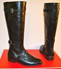 New $448 Coach Lawrencia Tumbled Glazed Leather Motorcycle Black Boots Tall
