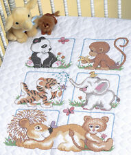 "Animal Babies Quilt Stamped Cross Stitch Kit-34""X43"""
