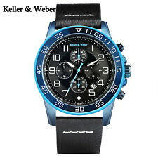Keller&Weber Date Waterproof Chronograph Mens Quartz Wrist Watch Genuine Leather