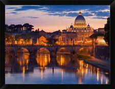 'Night View at St. Peter's Cathedral Rome' Framed Photographic Print