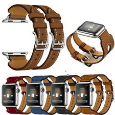 Leather Double Cuff Buckle Watch Band Bracelet Strap For Apple Watch 38mm/42mm