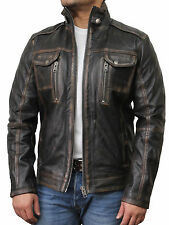 Vintage Mens Distressed Leather Jackets Mens Distressed Leather Biker Jackets