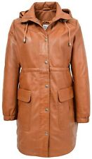 Womens 3/4 Length Parka Duffle Leather Coat with Detachable Hoodie Kyra Tan
