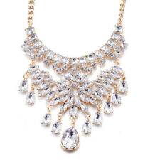 Hakbaho Jewelry Lucite Gold Plated CZ Bib Necklace
