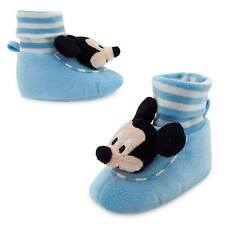 Disney Store Mickey Mouse Plush Soft Baby Slippers Socks Shoes Blue New Infant