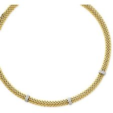 14k White and Yellow Gold White Diamond Mesh Chain Necklace - 0.045 Cttw