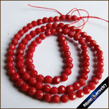 """4mm Round Faceted Red Coral Gemstone Loose Beads Strand 15"""" Jewelry Making"""