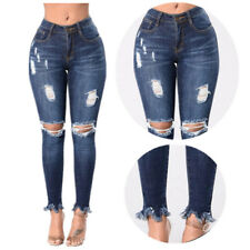 Jeans High Waisted Womens Knee Ripped Skinny Jeans Stretch Slim Pants