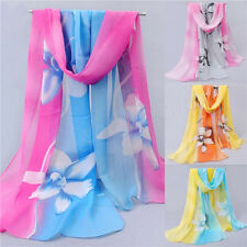 Women Girls Chiffon FLoral Long Soft Neck Scarf Shawl Scarves Stole Wraps Hot L4