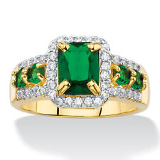 .34 TCW Emerald-Cut Simulated Green Emerald Halo Cocktail Ring Yellow