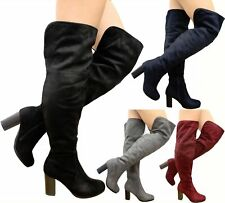 Womens Over The Knee Boots Block Heels Suede Ladies Fold Cuff Thigh High Shoes