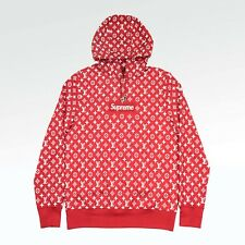 louis vuitton x supreme hoodie. 100% authentic new supreme x louis vuitton monogram box logo hoodie red 1a3fbu