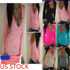 US Ship Womens Button V Neck Blouse T Shirt  Long Sleeve Tee Fitted Slim Tops