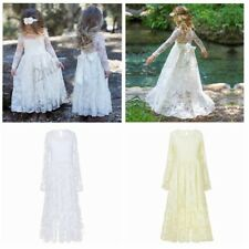 Flower Girls Princess Dresses Lace Party Wedding Bridesmaid Pageant Formal Gown
