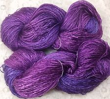 hand dyed Silk mulberry fingering wt yarn 434 yds color lilacsshawls knitting