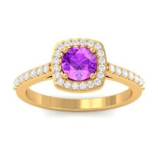Purple Amethyst IJ SI Fine Diamonds Gemstone Engagement Ring SolidGold Certified