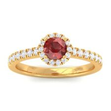 Red Garnet IJ SI Diamond Gemstone Enagagement Ring Women Solid Gold Certified