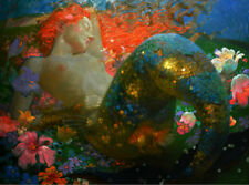 Art Wall Home decor Fantasy Abstract Mermaid Oil painting Printed on canvas N48