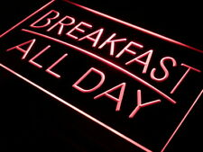 """16""""x12"""" i311-r BREAKFAST ALL DAY OPEN Cafe Bar Neon Sign"""