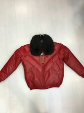 NWT VINTAGE DOUBLE F.A.T. GOOSE V-BOMBER JACKET FROM 80'S RED WITH FOX COLLAR