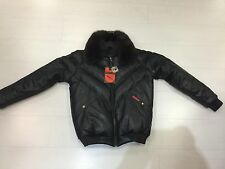 NWT VINTAGE DOUBLE F.A.T. GOOSE V-BOMBER JACKET FROM 80'S BLACK WITH FOX COLLAR