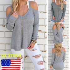 Lady Cut Out Cold Shoulder Pullover Long Sleeve Casual T-shirt Loose Tops Blouse