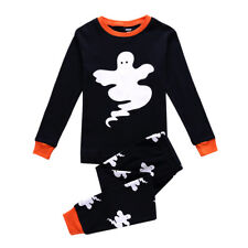 Halloween Kids Boys Ghost Print Black Pajamas Sets 5-7 Years Toddlers Clothes