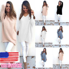 Lady V-neck Long Sleeve Sweater Knitwear Loose Casual Oversize Tops Blouse Shirt