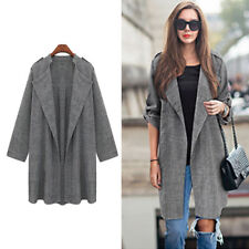 New Long Overcoat Fashion Waterfall Cardigan Open Front Trench Coat Womens