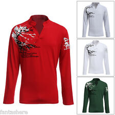 New Mens Luxury Casual Slim Fit Stylish T Shirts Long Sleeve 4 Colors Size L-5XL