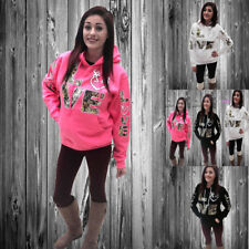 Womens Long Sleeve LOVE Print Hoodie Hooded Jumper Casual Sweater Tops Oversize