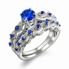 1.3 Ct Solid 925 Sterling Silver Wedding Ring Sets Engagement Band Blue CZ