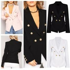 Womens Military Style Gold Button Front Black Double Breasted Blazer Coat Jacket