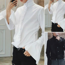 Men Gothic Victorian Balloon Collar Puff Sleeve Vintage Solid Color Shirt Top