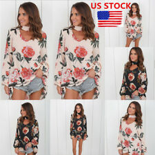 Womens Choker Neck Floral Tops Loose Ovsersize Long Sleeve Blouse Shirt Pullover