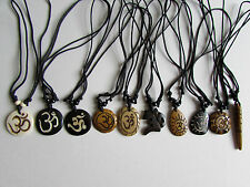 Yak Bone necklace OHM OM AUM Tibetan Handmade Tribal Unisex Men Women Yoga (G2)