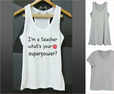 Teacher shirt I'm a teacher what's your superpower Quote tank top XS S M L XL