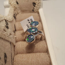 Stunning Australian Boulder Opal Trilogy Ring in Platinum Over Sterling Silver