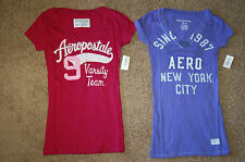NWT Juniors AEROPOSTALE V Neck Embroidered or Stacked T Pink Purple XS S M L XL!