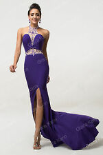 NEW~Purple Bridesmaid Formal Mermaid Evening Prom Cocktail Party Dress Ballgown