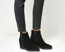 Womens Ash Goldie Wedge Boots BLACK SUEDE Boots