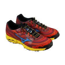 Mizuno Wave Kazan Mens Red Textile Athletic Lace Up Running Shoes
