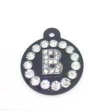 Crystal ~ Personalized Initial ~ Rhinestone Dog Cat Pet Engraved ID Tag USA