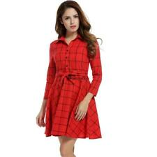 Women Lapel 3/4 Sleeve Plaid Belted Casual Swing Shirt Dress BSTY