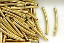 12K Gold Filled 2x24mm Curved Tube Spacer Beads, Choice of Lot Size & Quantity