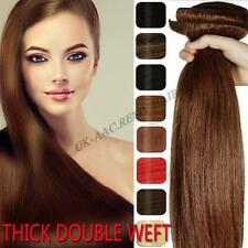 Double Weft Clip In Real Remy Human Hair Extensions Full Head Thick Set US F319
