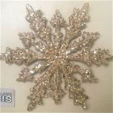 GOLD / SILVER SNOWFLAKE:Christmas Tree Decoration:16cm:Glitter:Hanging:Sparkling
